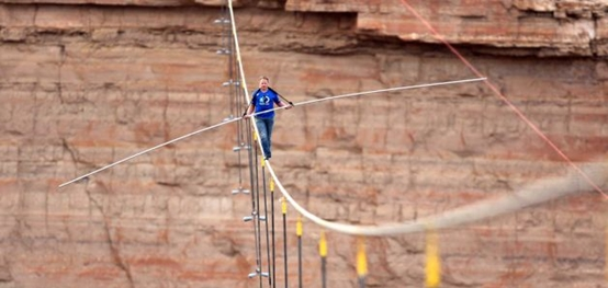 Nik Wallenda tightrope across Little Colorado River Gorge, courtesy of Discovery Channel