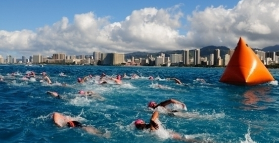 Eney Jones finishing 3rd at the 2012 2.4 mile Waikiki Roughwater Swim. Photo courtesy of The Hawaii Independent