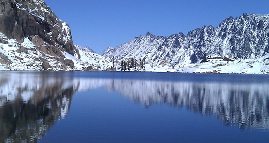 Lake Ingalls near Mount Stuart, Washington in mid October after first snow fall, by Ralph Teller