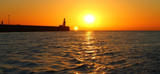 Sunrise at Dover, England as Trent Grimsey begins his English Channel world record swim.